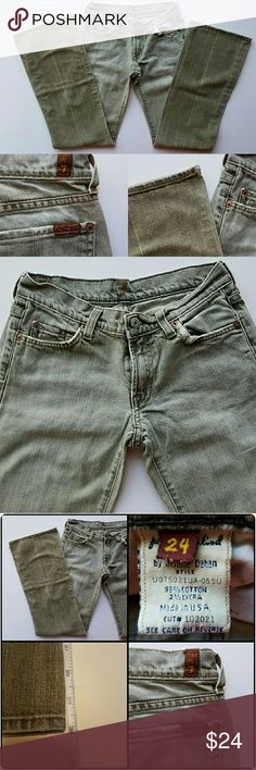 "7 For All Mankind sz 24 Bootcut Distressed Jeans In Good Condition! 7 For All Mankind. Sz W 24. Bootcut. Two-toned (pale olive-brown w/ medium sandblasted wash). Distressed front & back pockets. Signature ""for all mankind"" label on right back pocket. Front zipper & button closure with belt loops. No rips or holes. A few small blemishes at bottom left leg, right middle seam, & top front (see 4th pic). Low price reflects this. Length (Inseam): 30"". Please use the offer button for all offers…"