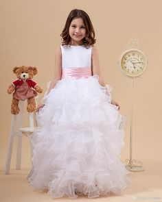 Cute High Neck Flower Girl's Dresses White A Line Satin And Organza Ruffles Girl Flower Gowns For Wedding Party Dress With Pink Sashes Flower Girl Headpieces Girls Easter Dress From Bridelee, $49.65| Dhgate.Com