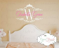 Princess Name Wall Decal with Initial and Tiara Crown Accent - Baby Girl Nursery or Teen Wall Decal 22H x 32W BA0337 via Etsy