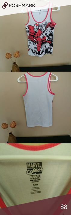 "Marvel Comics Tank Top Size S Gently used. No flaws, stains or holes. Armpit to armpit: 14.5"" shoulder to armpit: 8"" length: 24.5"". Marvel Comics Tops Tank Tops"