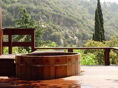 Wood hot tub... no jets, just a nice, hot soak.