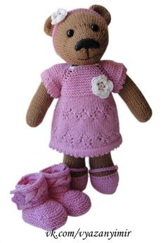brown bear knitted dress and shoes