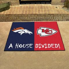 Nfl Broncos, Denver Broncos, Pittsburgh Steelers, Nfl Rams, Nfl Houston Texans, Dallas Cowboys, Kansas City Chiefs Football, Vinyl Rug, House Divided