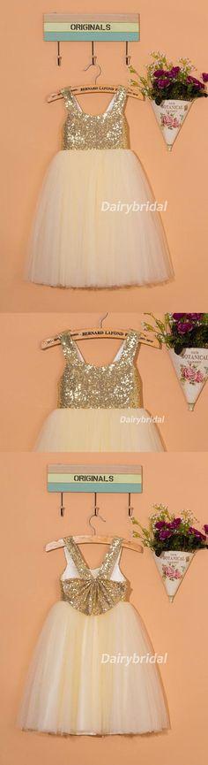 Sequin Tulle Flower Girl Dresses With Bowknot, Lovely Cute Tutu Dresses, DA922  #dairybridal  #flowergirldress