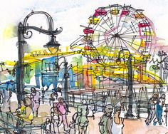 Santa Monica Pier travel sketch in yellow red and by SketchAway, $20.00