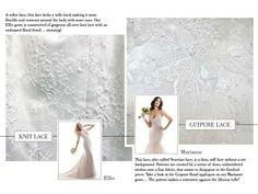Knit lace or Guipure lace? Use this Lace Library by Maggie Sottero to determine which lace to wear on your wedding day!