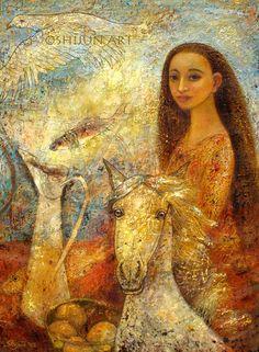 """Memories"" oil on linen 2005. © Shijun Munns.  黄诗筠  www.shijunart.com  www.facebook.com/shijunart  #Art #OilPaintings  #painting  #eagle #horse #Spirit #Portrait #Artist #ShijunArt #ShijunMunns"