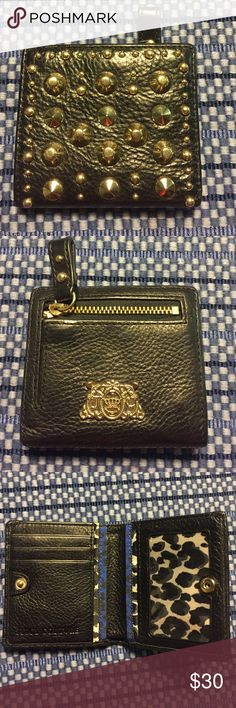 Juicy Couture Leather Wallet Black leather studded wallet with snap. Small zipper coin pocket on back with Juicy Couture emblem. Cheetah print inside. Credit card sleeve, dollar bill sleeve and clear sleeve for ID. Juicy Couture Accessories Key & Card Holders