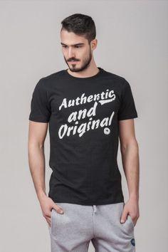 """Ανδρικό T shirt """"Authentic & Original"""" Black"""