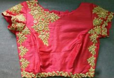 zardosi work on raw silk blouse