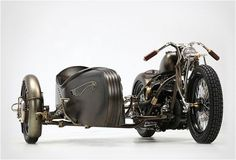 Union is a Art Deco-inspired sidecar attached to a 1942 Harley-Davidson Model U. It was created by Italian workshop Abnormal Cycles