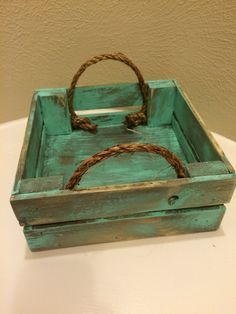 Mini turquoise distressed tray square tray rustic by PureHomeWorks