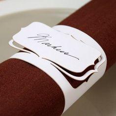 rond de serviette papier, marque place, mariage, decoration de table