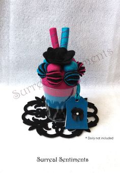 Liquorice Candy Flavoured Parfait Felt Cup with mini Handpainted Card: Sentimental Gift