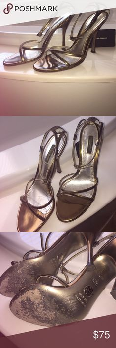 """Authentic Dolce&Gabbana Shoes Authentic! Beautiful gently worn strappy heels in the color Tobacco ( bronze/gold) by Dolce &Gabbana! Worn a few times but well taken care of! made in Italy, 4"""" heel but comfortable to walk in, box not included, they are gorgeous!💕 size 37.5 Dolce & Gabbana Shoes Heels"""