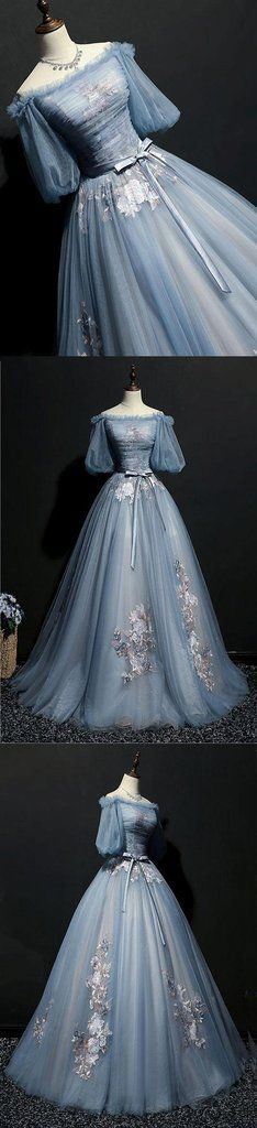 Vintage Prom Dress | A beautiful blue gray tulle long evening gown with half sleeve #prom #dress #gowns #promdress #promdresses