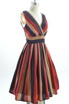 50s Style Red Striped Bombshell Pinup Surplice Rockabilly Dress with Full Skirt   eBay