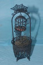 Witch's Raven, Cauldron Scary Bird Cage OOAK Artist Miniature Halloween 1:12