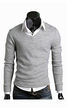14613aff4119db Slim Fit Light Grey V-Neck Sweater