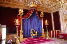 Throne of Emperor Napolean I, from 1808, in the royal residence, Fontainebleau Palace, in France