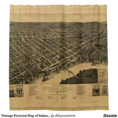 Vintage Pictorial Map of Selma Alabama (1887) Shower Curtain