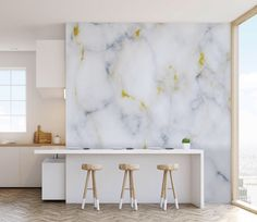 Marble Effect Wall Mural with Gold Highlights, Natural Wallpapers for Home and Office Interiors #GLORIA by ModernMatches on Etsy https://www.etsy.com/listing/534843252/marble-effect-wall-mural-with-gold