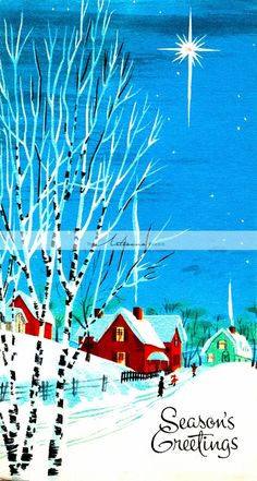 Vintage Christmas Card Winter Snow Covered Village Night Sky North Star - Instant Art Printable Down