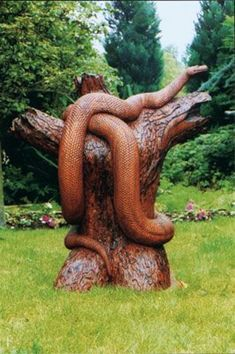 If you are looking for some ideas to have any wooden sculpture any soon, you need to have a look at these Realistic Handmade Wooden Animal Sculptures. Tree Carving, Wood Carving Art, Wood Carvings, Art Sculpture, Animal Sculptures, Nature Verte, Weird Trees, Wooden Animals, Wood Creations