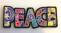 Groovy Hippie Peace Love Rectangle Embroidered Iron on Patch Applique