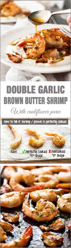 Double Garlic Brown Butter Shrimp (Prawns) - garlic prawns with garlic infused brown butter. Simple and fast to make, but so elegant!