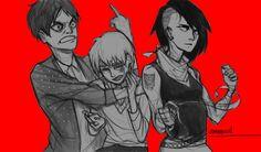 Shiganshina modern fashion trio, Eren, Mikasa, and Armin