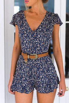 Blue High Waist Random Floral Print V-neck Playsuit from mobile - US$13.95 -YOINS