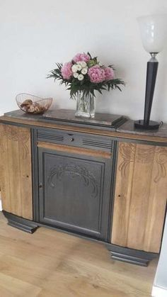 Old Buffet (art deco?) An old buffet could be transformed into entertainment center or use the center to house an electric fireplace Art Deco Furniture, Cabinet Furniture, Repurposed Furniture, New Furniture, Painted Furniture, Furniture Ideas, Plywood Furniture, Bedroom Furniture, Diy Dresser Makeover