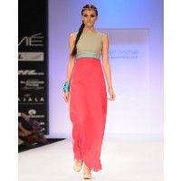 Hot Pink and Grey Block Printed Dress