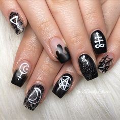 Badass Nail Designs Pictures 54 witch nail art ideas to enchant and delight you revelist Badass Nail Designs. Here is Badass Nail Designs Pictures for you. Badass Nail Designs 54 witch nail art ideas to enchant and delight you revelist. Goth Nails, Witchy Nails, My Nails, Gelish Nails, Grunge Nails, Nail Nail, Emo Nail Art, Gothic Nail Art, Black Nail Art
