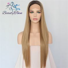 Cheap root hair, Buy Quality rooted blonde wig directly from China root synthetic wig Suppliers: Beauty Town Hand Tied Dark Roots To Blond Ombre High Temperature Fiber Hair Straight Glueless Synthetic Lace Front Wig For Women