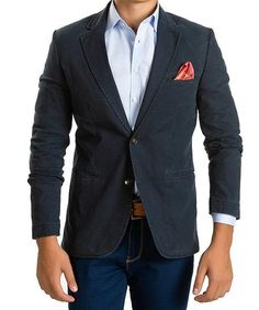 Notch Lapel Fitted Cotton Blazer