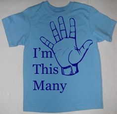 Im This Many Five Birthday Fifth 5th T-Shirt or Onesie - YOU CHOOSE COLORS and Size