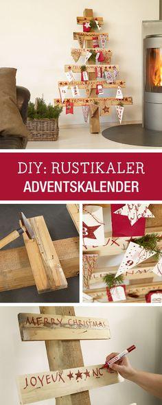 DIY-Anleitung für einen rustikalen Adventskalender aus Holz / rustic advents calendar via DaWanda.com