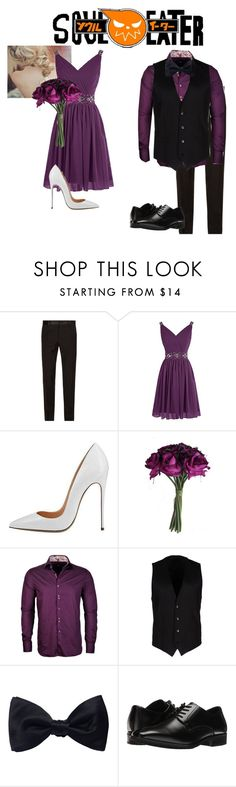 """Maka and Soul at Justine and Kid's wedding (Maka is one of Justine's bridesmaids and Soul is one of Kid's groomsmen)"" by j-j-fandoms ❤ liked on Polyvore featuring Dolce&Gabbana, Stone Rose, Ike Behar and Stacy Adams"