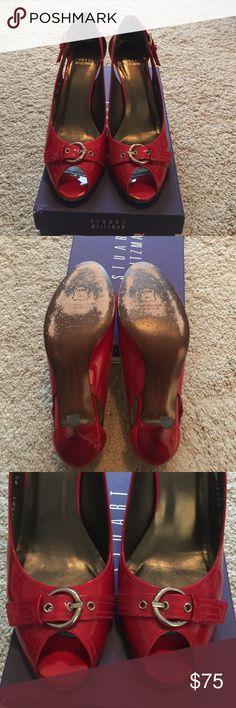 stuart weitzman heels stuart weitzman red patent peep toe heels with buckle. gorgeous red color! original box. Stuart Weitzman Shoes Heels
