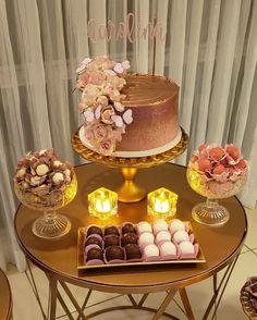 Cake Table, Dessert Table, Havanna Party, Simple Birthday Decorations, Beautiful Birthday Cakes, 18th Birthday Party, Its My Bday, Gold Party, Fairy Cakes