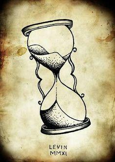 1 Tattoo, Piercing Tattoo, Tattoo Drawings, Hourglass Drawing, Hourglass Tattoo, Time Tattoos, New Tattoos, Tattoos For Guys, Pocket Watch Drawing
