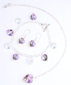 Swarovski Crystals Hearts in Clear AB and Lilac AB Pendant, Bracelet and Earring £65.00