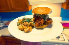 Nashville Hot Chicken Sandwich with Curry Potato Salad [OC][5264  3433]