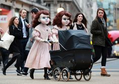 Photo highlights of the day: spooky dolls and a volcanic eruption