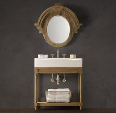 Weathered Oak Single Console Sink from Restoration Hardware - to complete the powder room. We will be doing something like this, for sure.