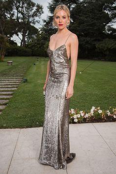 Sienna Miller in a silver dress