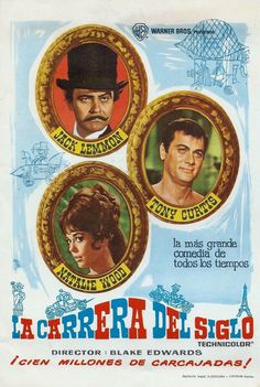 THE GREAT RACE - Jack Lemmon - Tony Curis - Natalie Wood - Warner Bros. - Spanish movie poster.