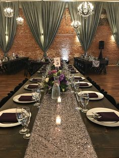 Wedding Table | Lilac Sequin | Charcoal Grey Drapes | Wedding Set Up | Wedding | Urban Chic Wedding | Chic | Farm Tables | Wedding Held At The Century In The Heart Of Down Town Modesto, CA